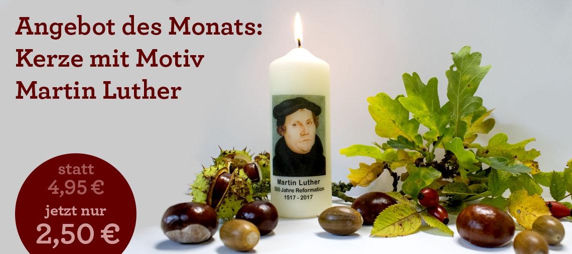 Angebot des Monats: Kerze mit Motiv Martin Luther